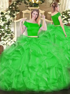 Green Short Sleeves Floor Length Appliques and Ruffles Zipper Quince Ball Gowns
