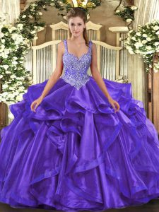 Classical Beading and Ruffles 15 Quinceanera Dress Purple Lace Up Sleeveless Floor Length