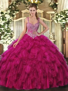 Dynamic Sleeveless Organza Floor Length Lace Up Quinceanera Gowns in Fuchsia with Beading and Ruffles