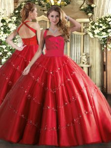 Perfect Red Halter Top Lace Up Appliques Quinceanera Gown Sleeveless