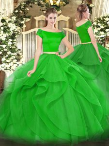 Green Two Pieces Appliques and Ruffles Quinceanera Gowns Zipper Tulle Short Sleeves Floor Length