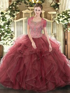 Sleeveless Floor Length Beading and Ruffled Layers Clasp Handle Quinceanera Gowns with Burgundy