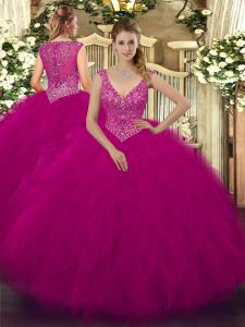 Sleeveless Zipper Floor Length Beading and Ruffles Quince Ball Gowns