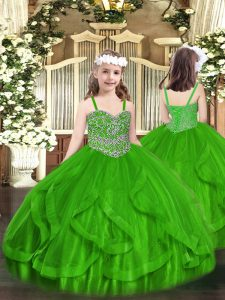 Sweet Green Ball Gowns Beading and Ruffles Pageant Dress Wholesale Lace Up Tulle Sleeveless Floor Length