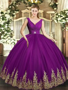 Sleeveless Tulle Floor Length Backless Sweet 16 Quinceanera Dress in Eggplant Purple with Beading and Appliques and Ruching