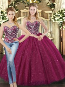 Artistic Fuchsia Ball Gown Prom Dress Military Ball and Sweet 16 and Quinceanera and Beach with Beading Sweetheart Sleeveless Lace Up