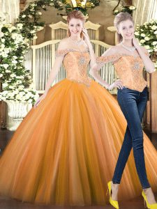 Lovely Orange Red Off The Shoulder Lace Up Beading 15 Quinceanera Dress Sleeveless