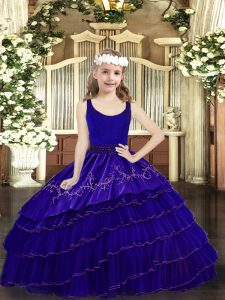 Latest Floor Length Blue Pageant Dress Womens Organza Sleeveless Beading and Embroidery and Ruffled Layers
