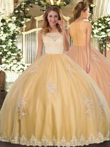 Scoop Sleeveless Quinceanera Dresses Floor Length Lace and Appliques Gold Tulle