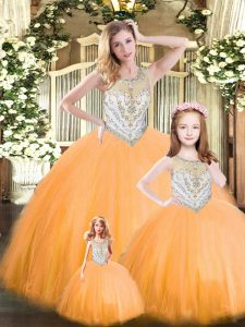 Floor Length Lace Up Quinceanera Gown Orange Red for Military Ball and Sweet 16 and Quinceanera with Beading