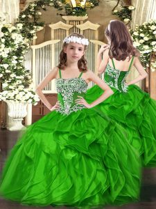 Green Ball Gowns Organza Straps Sleeveless Appliques and Ruffles Floor Length Lace Up Child Pageant Dress