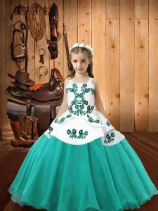Simple Floor Length Lace Up Custom Made Pageant Dress Aqua Blue for Sweet 16 and Quinceanera with Embroidery