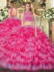 Beading and Ruffled Layers 15 Quinceanera Dress Coral Red Backless Sleeveless Floor Length