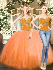 Stunning Sweetheart Sleeveless Lace Up Quinceanera Dress Orange Red Tulle