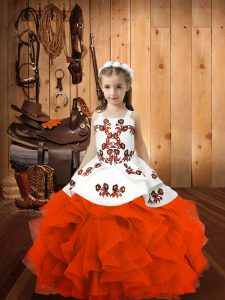 Orange Red Pageant Dress Sweet 16 and Quinceanera with Embroidery Straps Sleeveless Lace Up