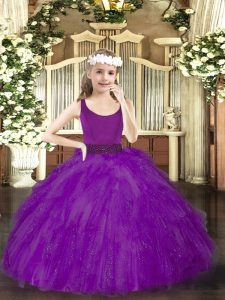 Admirable Purple Tulle Zipper Scoop Sleeveless Floor Length Pageant Gowns Beading