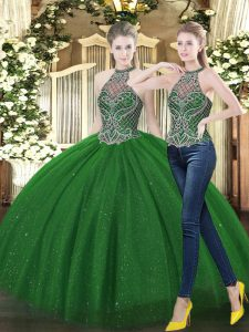 Superior Dark Green High-neck Neckline Beading Quinceanera Gowns Sleeveless Lace Up