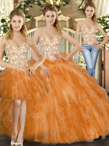 Fine Straps Sleeveless 15th Birthday Dress Floor Length Beading and Ruffles Orange Red Organza