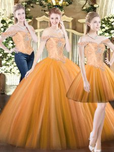 Orange Red 15 Quinceanera Dress Military Ball and Sweet 16 and Quinceanera with Beading Off The Shoulder Sleeveless Lace Up