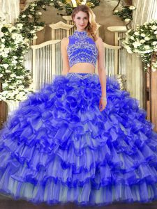 Spectacular Blue Sleeveless Beading and Ruffled Layers Floor Length Quinceanera Gowns