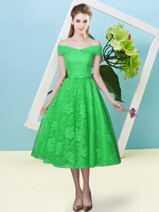 Spectacular Green Off The Shoulder Lace Up Bowknot Vestidos de Damas Cap Sleeves
