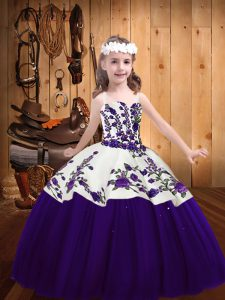 Purple Lace Up Straps Embroidery Pageant Dresses Tulle Sleeveless