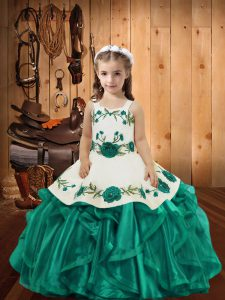 Low Price Teal Ball Gowns Straps Sleeveless Organza Floor Length Lace Up Embroidery and Ruffles Pageant Dress Toddler