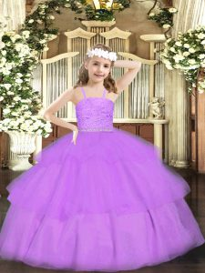 Floor Length Lavender High School Pageant Dress Organza Sleeveless Beading and Lace