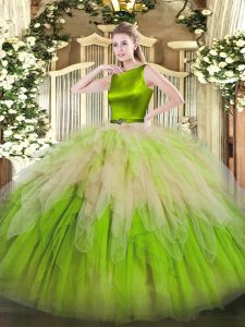 Attractive Sleeveless Organza Floor Length Clasp Handle Quinceanera Dress in Multi-color with Ruffles