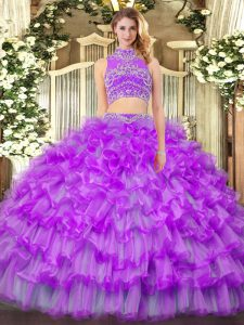 Purple High-neck Backless Beading and Ruffled Layers Quinceanera Gown Sleeveless