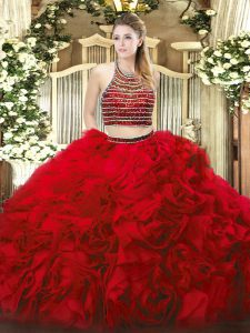 Red Two Pieces Tulle Halter Top Sleeveless Beading and Ruffles Floor Length Zipper 15 Quinceanera Dress