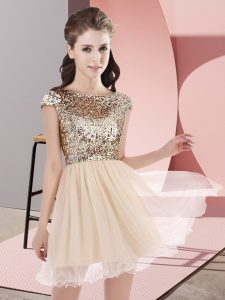 Free and Easy Champagne Zipper Scoop Sequins Court Dresses for Sweet 16 Tulle Cap Sleeves