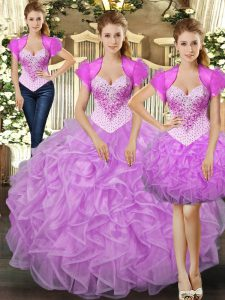 Lilac Sleeveless Floor Length Beading and Ruffles Lace Up Sweet 16 Dresses