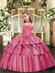 Luxurious Rose Pink Sleeveless Floor Length Beading and Ruffled Layers Lace Up High School Pageant Dress