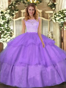 Glittering Floor Length Ball Gowns Sleeveless Lavender Quinceanera Dresses Clasp Handle