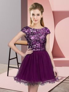 Purple A-line Tulle Scoop Cap Sleeves Sequins Mini Length Zipper Quinceanera Court of Honor Dress