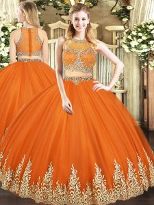 Orange Red Zipper Sweet 16 Quinceanera Dress Beading and Appliques Sleeveless Floor Length