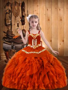 Orange Red Ball Gowns Straps Sleeveless Organza Floor Length Lace Up Embroidery and Ruffles Little Girls Pageant Dress