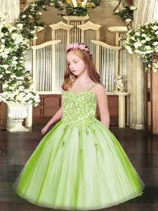 Customized Sleeveless Floor Length Appliques Lace Up Winning Pageant Gowns with Yellow Green