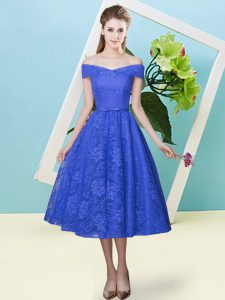 Extravagant Blue Empire Lace Off The Shoulder Cap Sleeves Bowknot Tea Length Lace Up Dama Dress