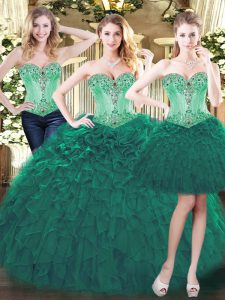 Hot Sale Green Sweetheart Neckline Beading and Ruffles Vestidos de Quinceanera Sleeveless Lace Up