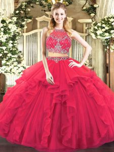Excellent Floor Length Two Pieces Sleeveless Coral Red Sweet 16 Quinceanera Dress Zipper