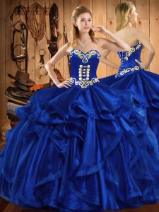 Royal Blue 15 Quinceanera Dress Military Ball and Sweet 16 and Quinceanera with Embroidery and Ruffles Sweetheart Sleeveless Lace Up