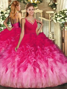 Low Price Floor Length Multi-color Vestidos de Quinceanera Organza Sleeveless Ruffles