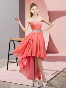 Affordable High Low A-line Sleeveless Watermelon Red Court Dresses for Sweet 16 Lace Up