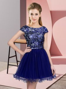 Latest Sequins Dama Dress for Quinceanera Blue Zipper Cap Sleeves Mini Length