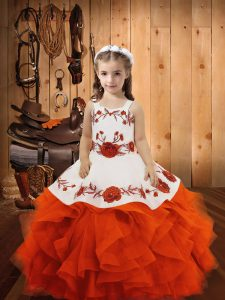 Tulle Straps Sleeveless Lace Up Embroidery and Ruffles Little Girl Pageant Dress in Orange Red