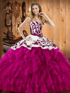 Fuchsia Lace Up Sweetheart Embroidery and Ruffles Ball Gown Prom Dress Satin and Organza Sleeveless