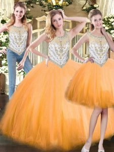 Clearance Orange Red Scoop Zipper Beading 15 Quinceanera Dress Sleeveless