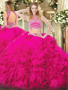 Hot Pink Sleeveless Tulle Backless Quinceanera Gown for Military Ball and Sweet 16 and Quinceanera and Beach